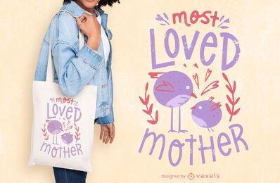 Diseño de bolsa de asas con cita del día de la madre