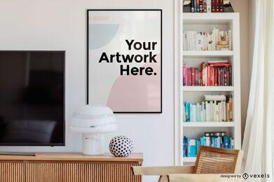 Maqueta de marco de obra de arte de oficina de estantería
