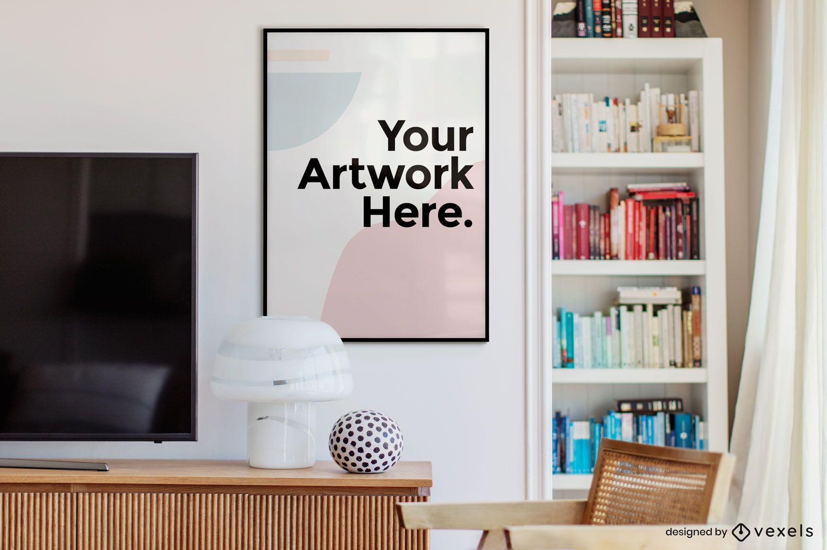 Bookshelf office artwork frame mockup