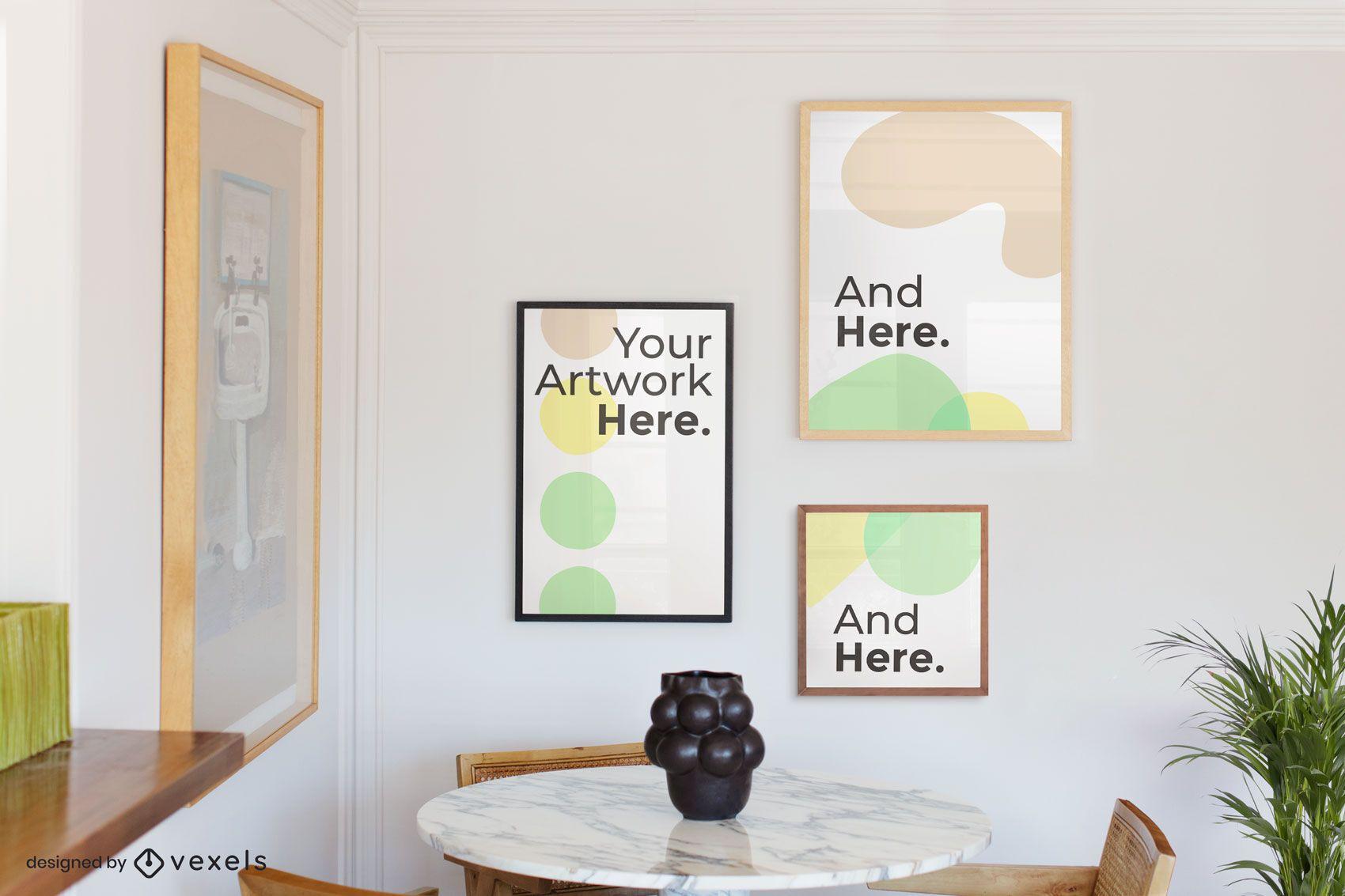 Dining room artwork frames mockup
