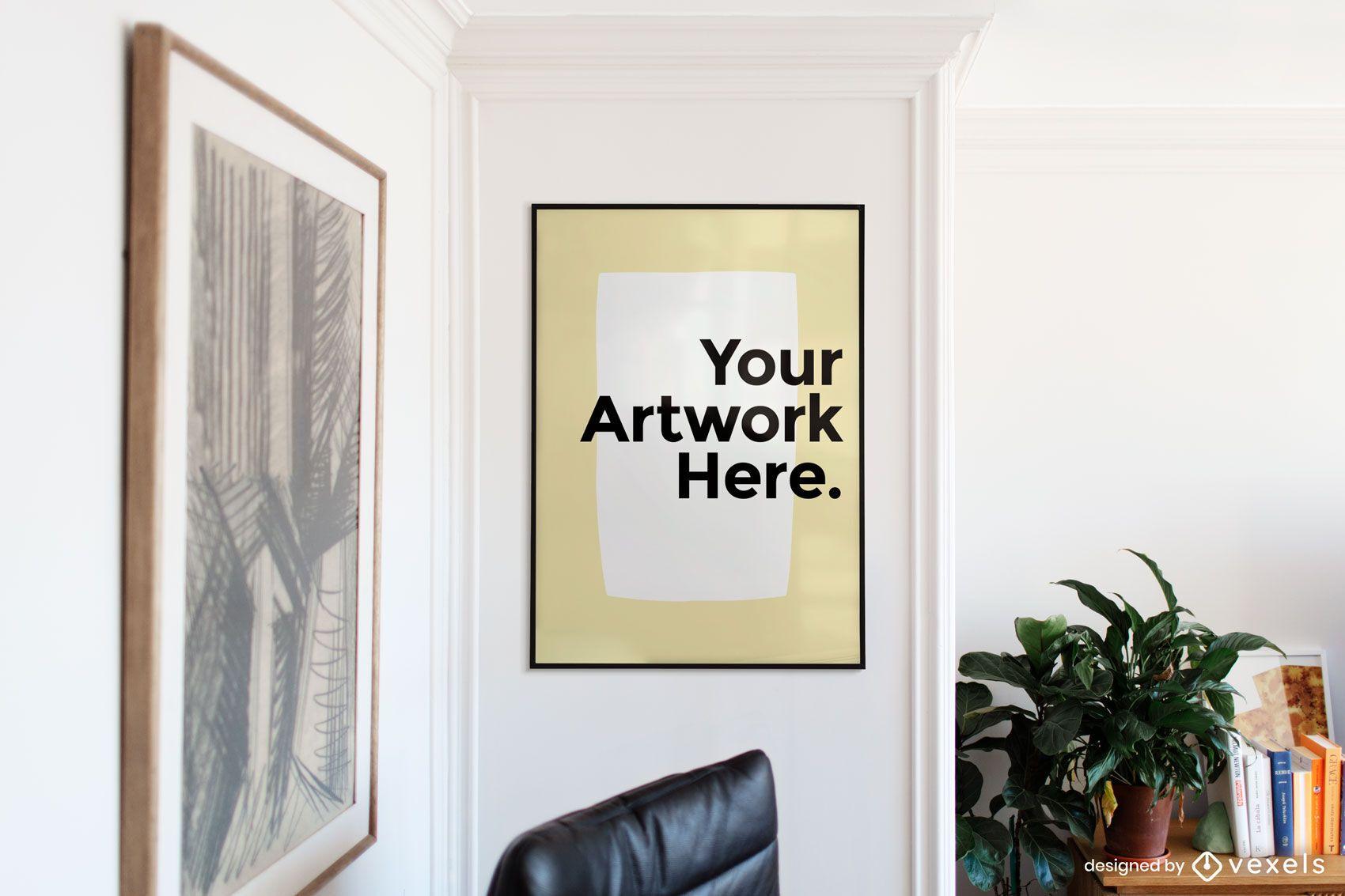 Maqueta de marco de arte de sala de estar