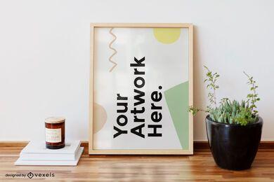 Diseño de maqueta de marco de ilustraciones de escritorio