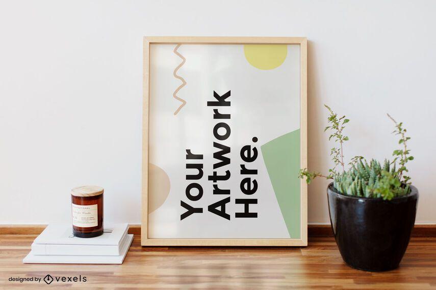 Desk artwork frame mockup design