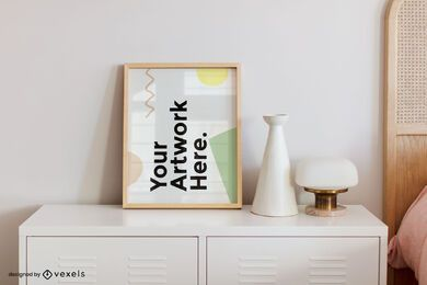 Nightstand bedroom frame mockup