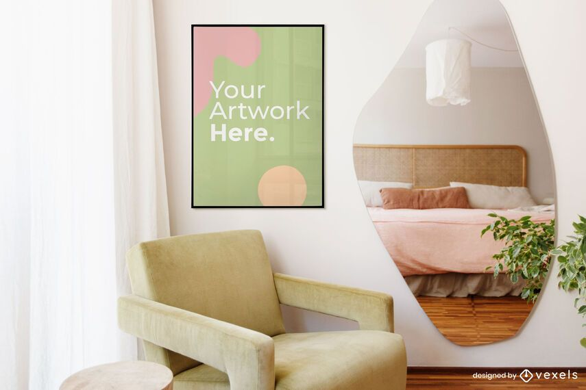 Bedroom artwork frame mockup