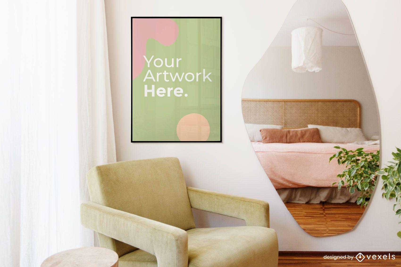 Bedroom artwork frame mockup