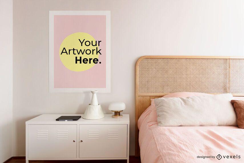 Bedroom nightstand artwork frame mockup