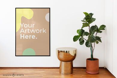 Plant floor artwork frame mockup