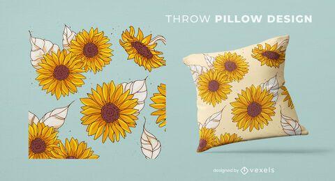 Diseño de almohada de tiro de girasoles