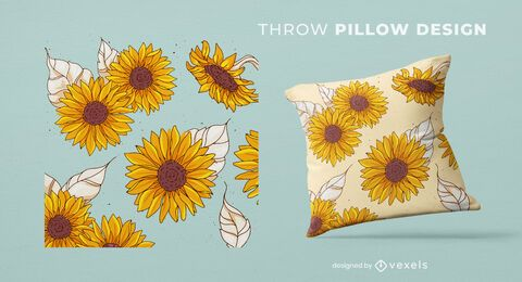 Sunflowers throw pillow design