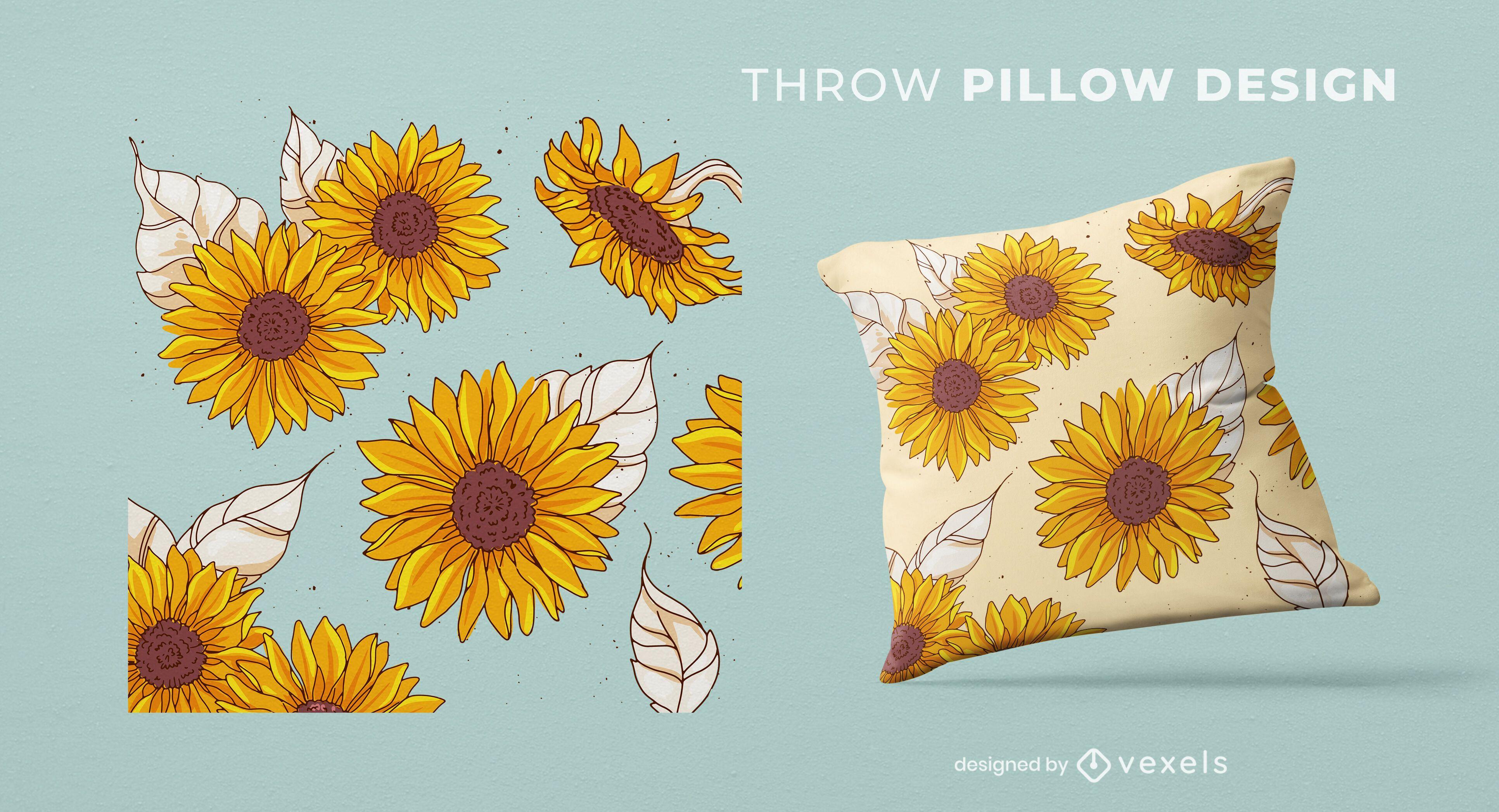 Sunflowers throw pillow design