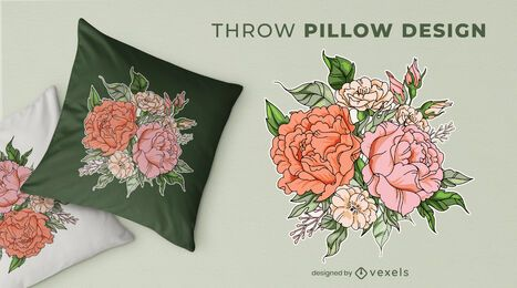 Flower bouquet throw pillow design