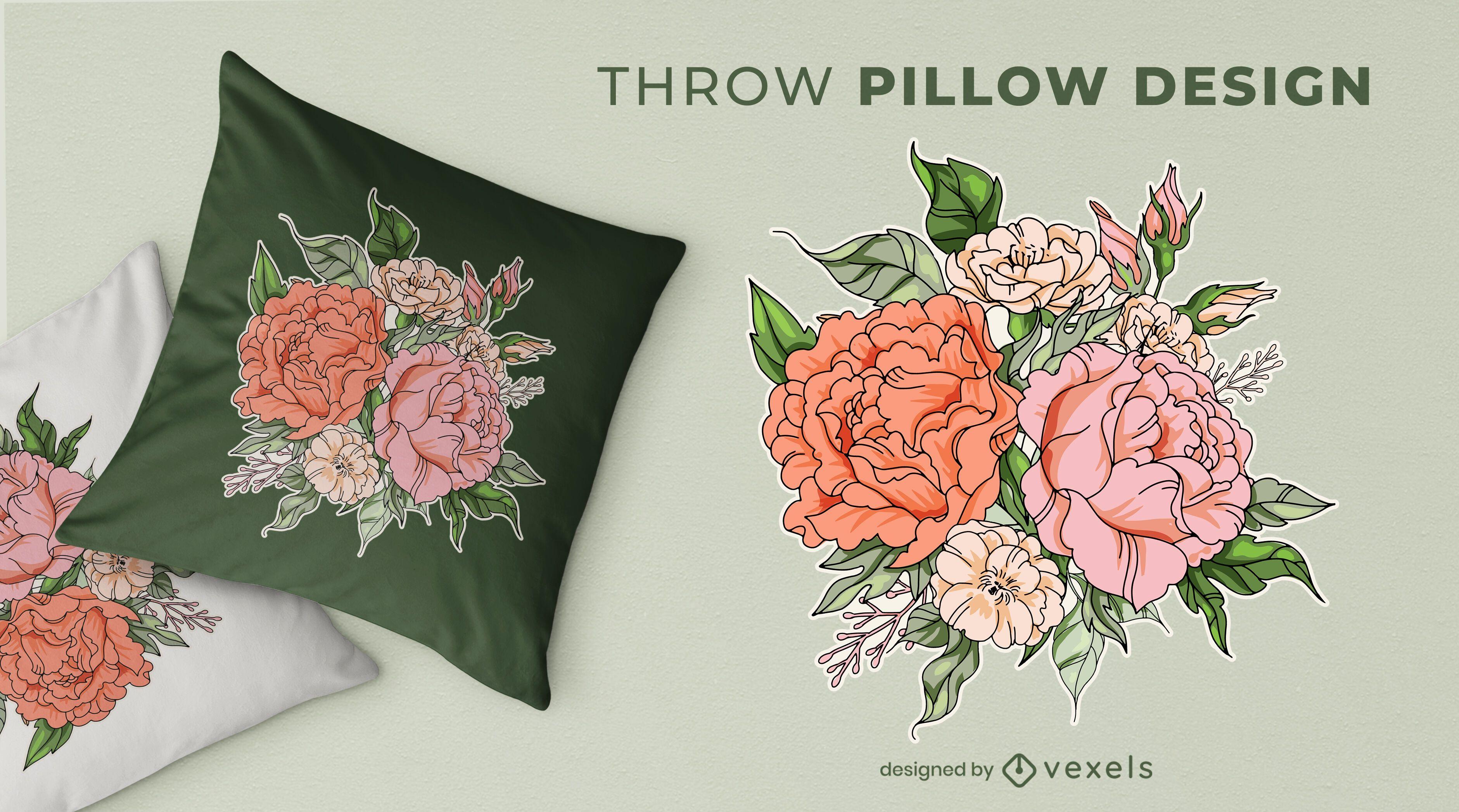 Diseño de almohada de tiro con ramo de flores