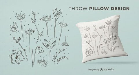 Hand drawn flowers throw pillow design