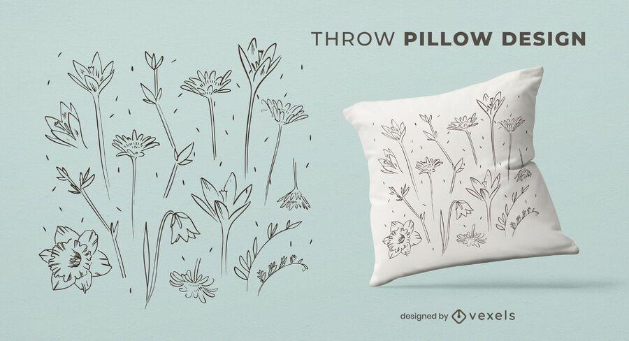 Hand drawn flowers throw pillow design