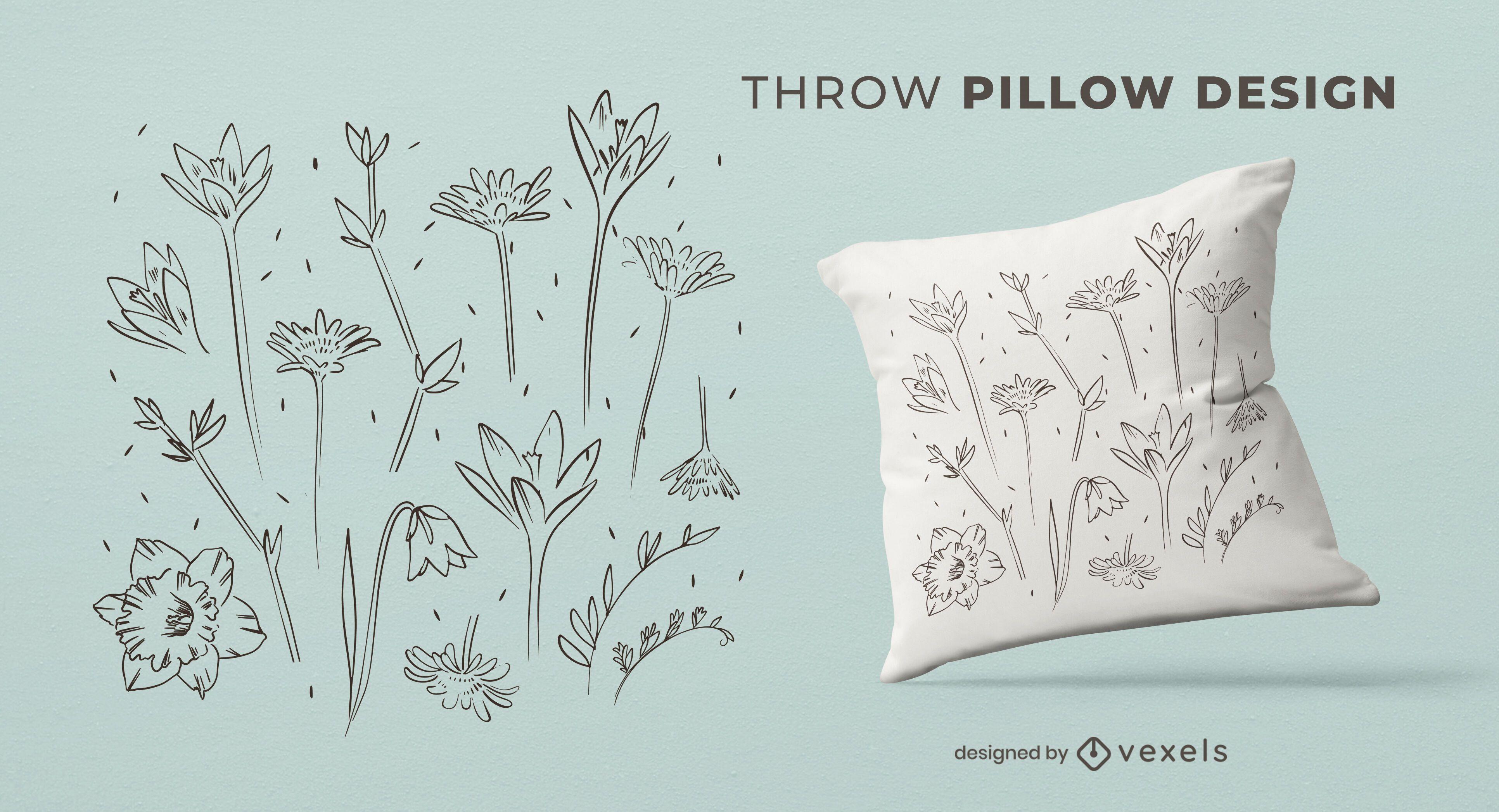 Desenho de almofadas com flores desenhadas à mão