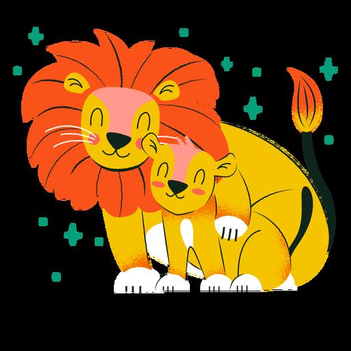 Lion cub and father cute cartoon