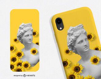Design de capa de telefone com girassóis estátua grega