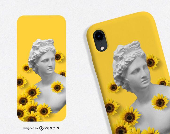 Diseño de caja de teléfono de girasoles de estatua griega