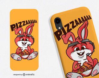 Diseño de caja de teléfono de conejo de pizza