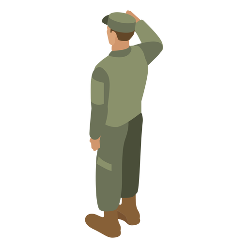 Army soldier salute back flat