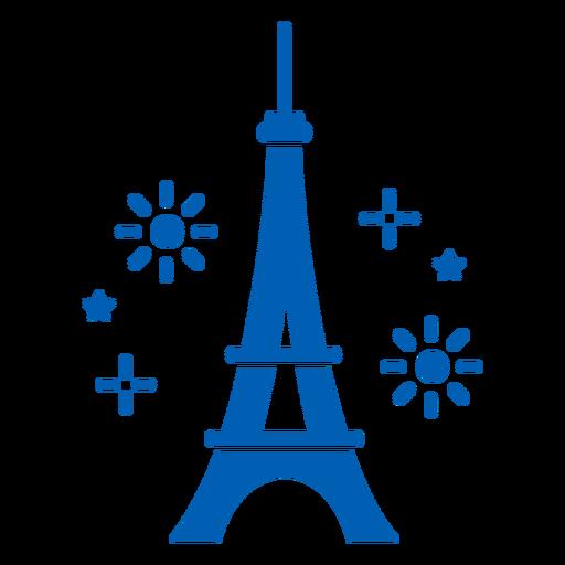Eiffel tower fireworks monochrome flat