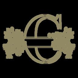 Floral capital letter C stroke