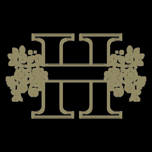 Trazo de letra mayúscula floral H