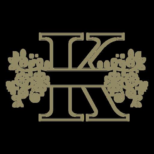 Trazo floral de la letra mayúscula K