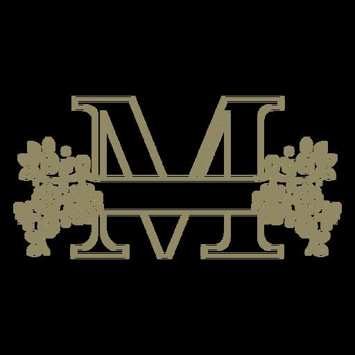 Trazo de letra mayúscula floral M