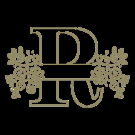 Trazo floral de la letra mayúscula R