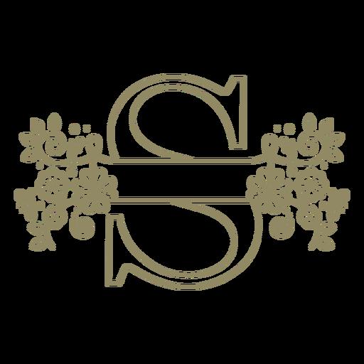 Trazo floral de la letra mayúscula S