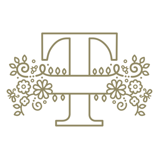 Trazo floral de la letra mayúscula T