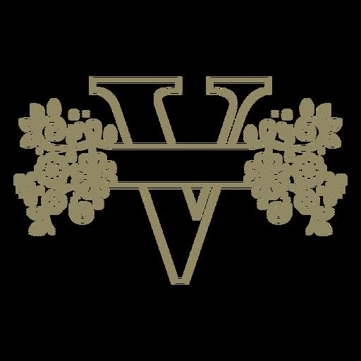 Trazo floral de la letra V mayúscula