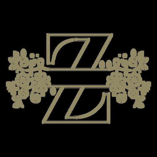 Trazo floral de la letra mayúscula Z