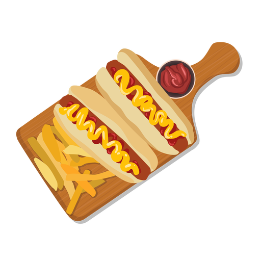 Hot dogs french fries illustration