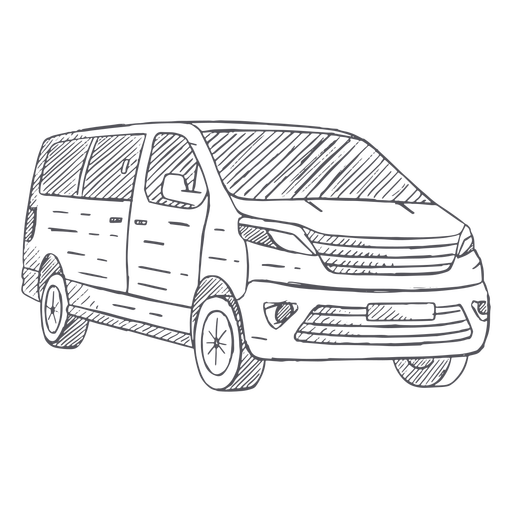 Gran furgoneta dibujada a mano