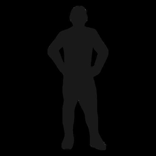 Man hands hips standing silhouette