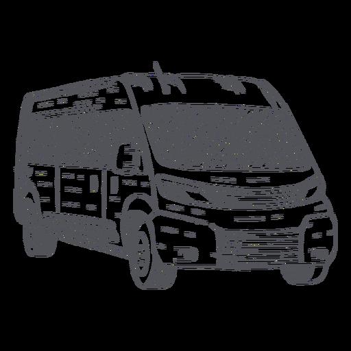 Mini-bus hand-drawn