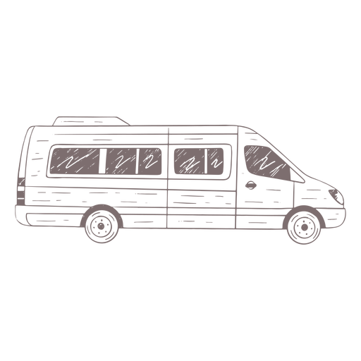 Mini-bus side hand-drawn