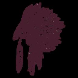 Tocado nativo lado dibujado a mano.