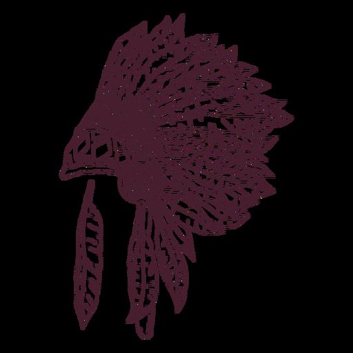 Native headdress side hand-drawn