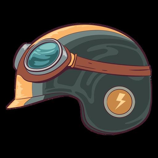 Ilustración de lado de casco de motocicleta retro
