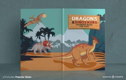 Portada del libro para colorear dragones y dinosaurios