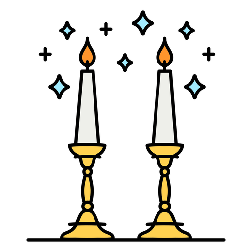 Shabbat candles color-stroke
