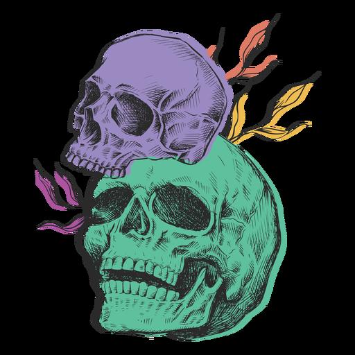Skulls sizes colored hand-drawn