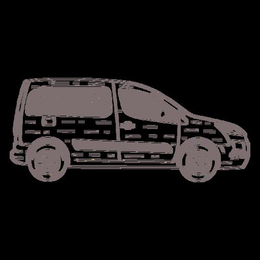 Lado de la furgoneta pequeña dibujado a mano
