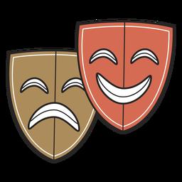 Máscaras de teatro com traço colorido