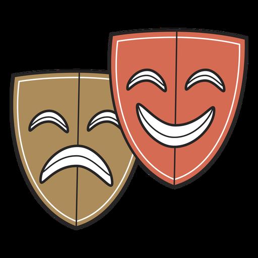 Theatre masks color-stroke