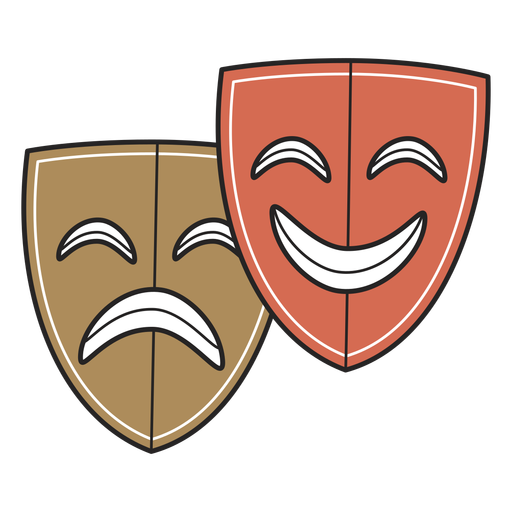 Trazo de color de máscaras de teatro